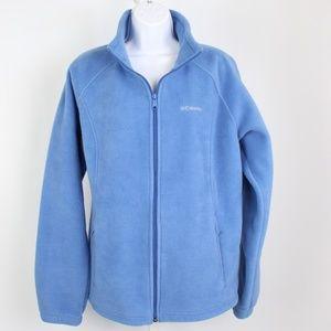 Columbia blue fleece jacket elastic cord hemline